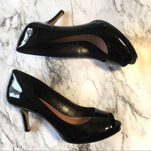 Vince Camuto Black Peep Toe Patent Leather Heels